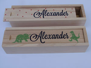 Personalised Print Wooden Pencil Case - writing