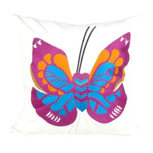 Butterfly Embroidered Cushion - bedroom