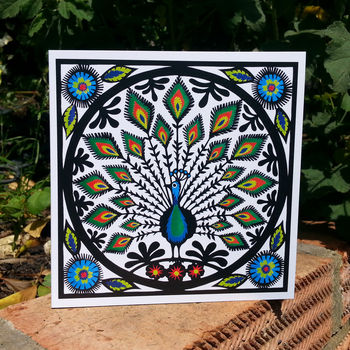 Folk Art Peacock Greetings Card