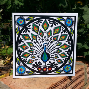 Folk Art Peacock Greetings Card - all purpose cards, postcards & notelets