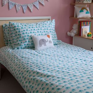 Turquoise Elephant Single Duvet Cover