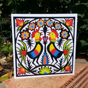 Folk Art Roosters Greetings Card - shop by category