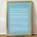 Medium Duck Egg Blue Personalised Gold Foil Mr and Mrs Art Print