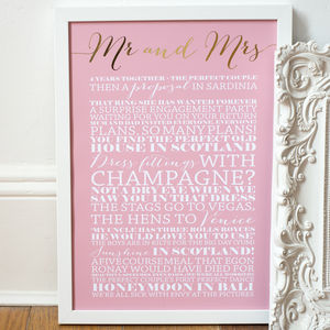 Personalised Gold Foil 'Mr And Mrs' Art Print
