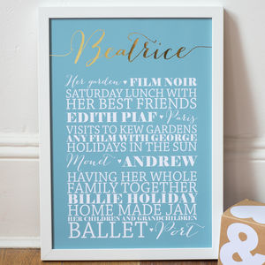 Personalised Gold Foil 'Favourites' Art Print - mixed media pictures for children