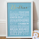 Medium Duck Egg Blue Personalised Gold Foil 'Favourites' Art Print