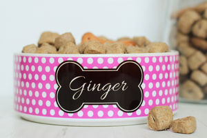 Personalised Polka Dot Pet Bowl - dogs