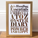 Copper foil and white background - Personalised Metallic Foil Handbag Essentials Art Print