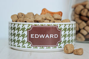 Personalised Pet Bowl Houndstooth