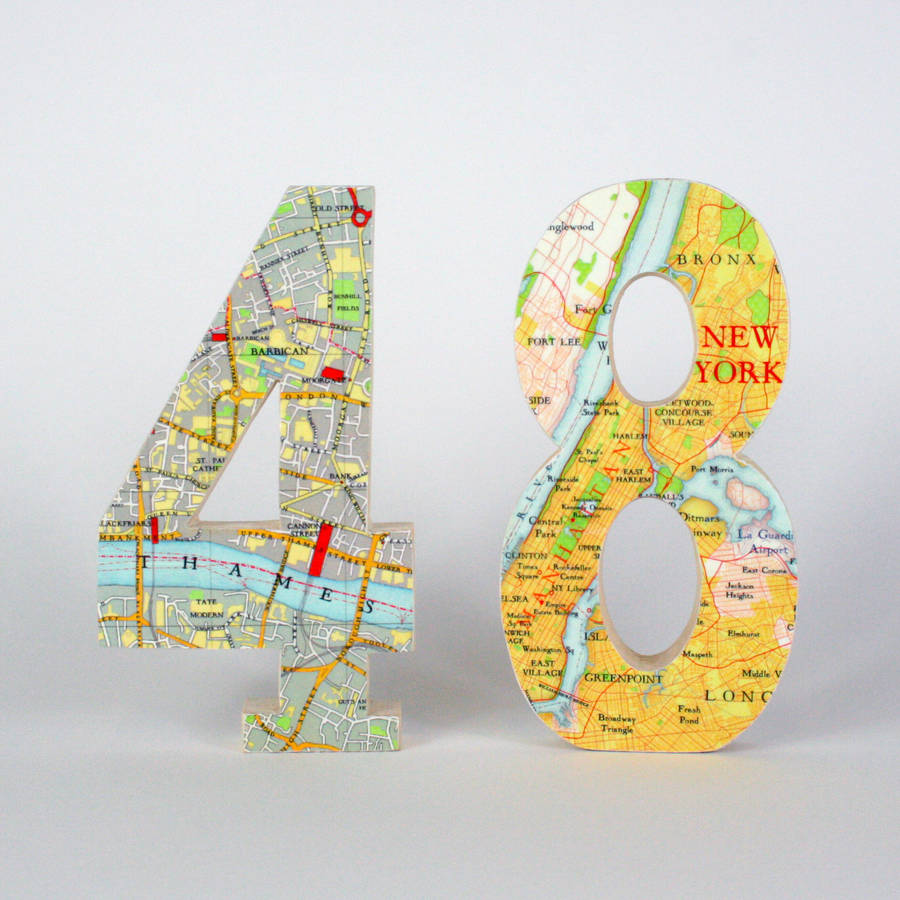 Bespoke Map Heart Trio Artwork By Bombus: Map Location Wood Wedding Table Numbers By Bombus