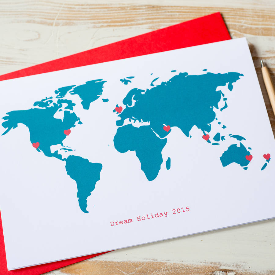 Large Personalised World Map Card By Milly Inspired