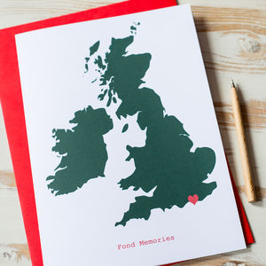 Large Personalised UK Map Card - weddings sale