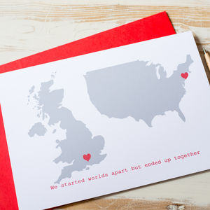Personalised Double Map Card - wedding, engagement & anniversary cards