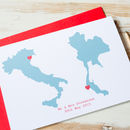 Large Duck Egg Blue Personalised Double Map Card