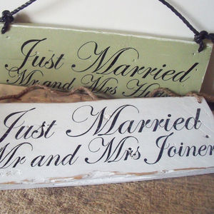 Personalised Just Married Wooden Sign - decorative accessories