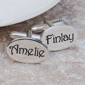 Personalised Silver Name Cufflinks - cufflinks