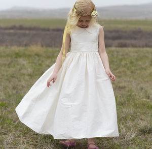 Flower Girl Dress With Peter Pan Collar - wedding fashion
