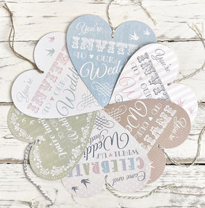 Heart Tag Wedding Invitation - wedding stationery