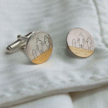 Personalised You, Me And Dad On The Beach Cufflinks