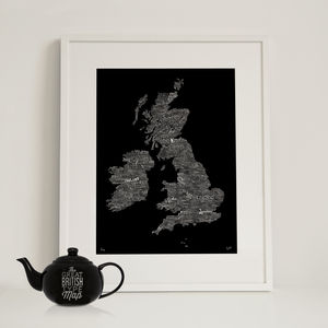 Typographic Map Of Great Britain - contemporary art