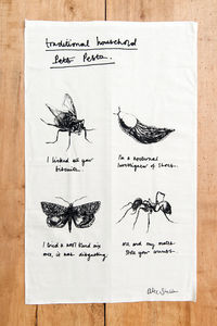 Household Pests Insects Cotton Tea Towel