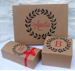 Personalised Monogram Gift Boxes - ribbon & wrap