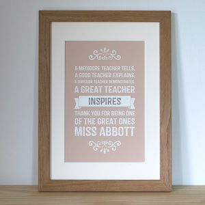 Teacher Personalised Print - gifts for teachers