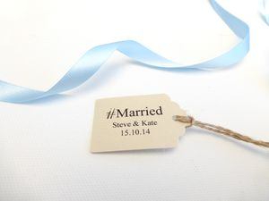 Personalised Hashtag Married Favour Tags