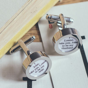 Personalised Wedding Vow Cufflinks - women's jewellery