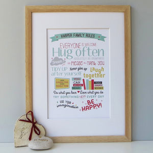 Personalised Family Rules Gift Print - family & home