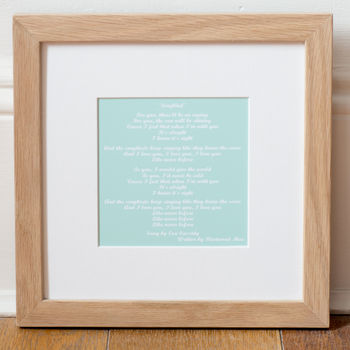 Script font - Mint Personalised Favourite Song Mounted Art Print