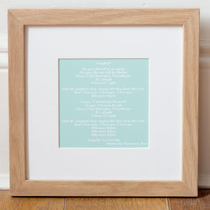 Personalised Song Lyrics Mounted Art Print - gifts for him
