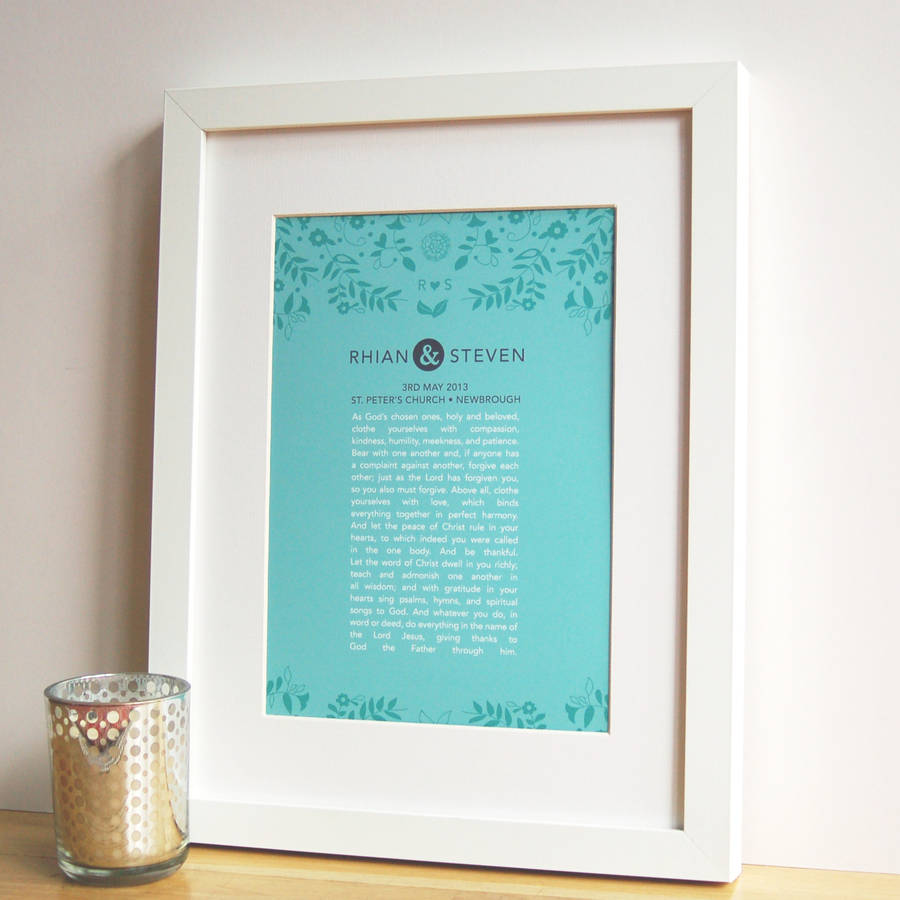 Personalised Wedding Vow Gifts : personalised wedding vow or poem art by ant design gifts ...