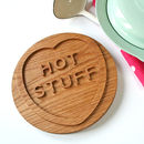 Solid Oak 'Hot Stuff' Trivet