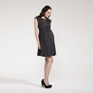 Rhianna Laser Cut Skater Maternity Dress - maternity
