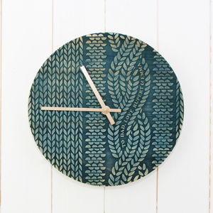 Cable Knit Wooden Clock - clocks