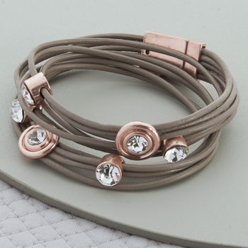 Rose Gold Double Leather And Crystal Wrap Bracelet