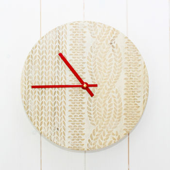 Knitted Cricket Sweater Wooden Clock