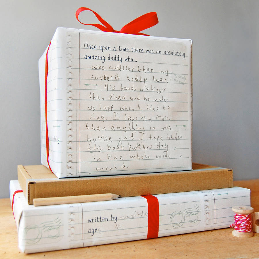 write your own father s day wrapping paper set by clara and macy from child to dad wrapping paper