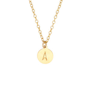 14k Gold Fill Handstamped Initial Disc Necklace