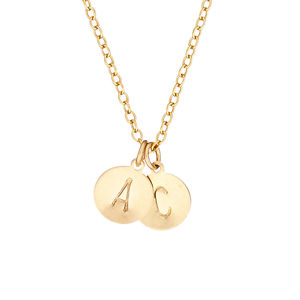 14k Gold Fill Initial Disc Necklace With Two Initials