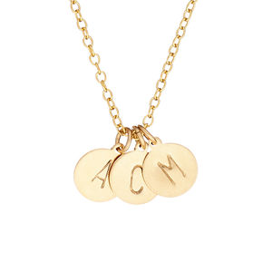 14k Gold Fill Initial Disc Necklace With Three Initials - necklaces & pendants