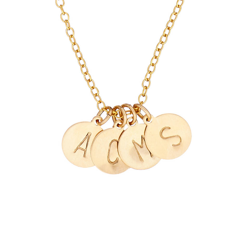 14k Gold Fill Initial Disc Necklace With Four Initials By