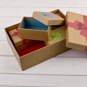 Set Of Five Craft Style Luxury Gift Boxes - ribbon & wrap