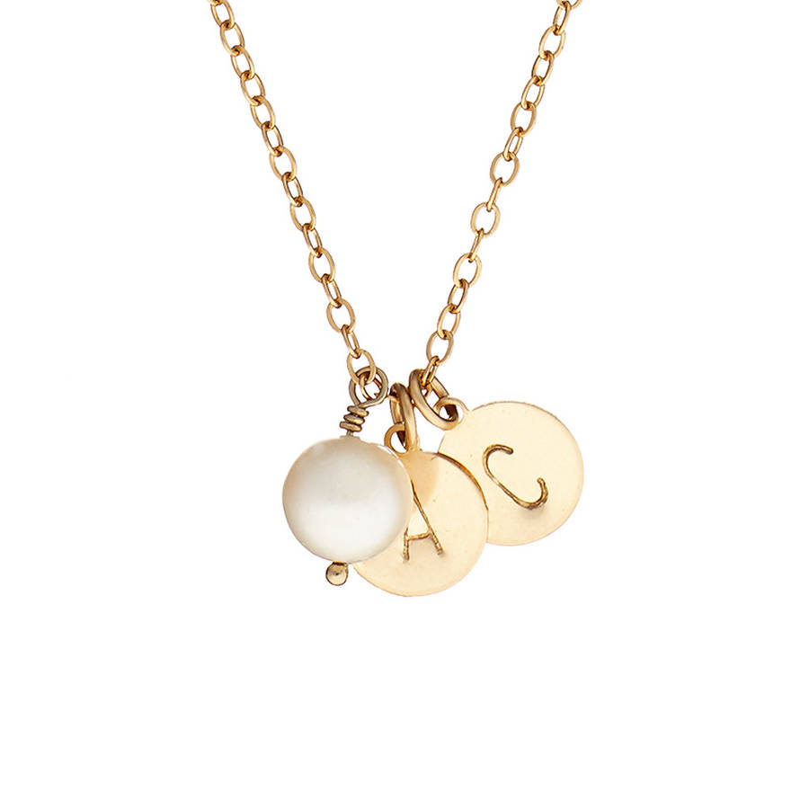 Gem 14k gold fill initial necklace with two initials by chupi gem 14k gold fill initial necklace with two initials mozeypictures Image collections