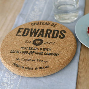 Personalised Cork Trivet - dining room