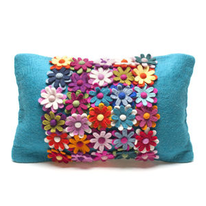 Handmade Felt Teal Flower Cushion - baby's room