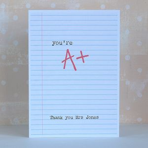 You're A+ Personalised Teacher Card - thank you cards