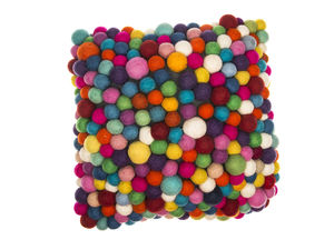 Handmade Felt Multicoloured Ball Cushion - cushions