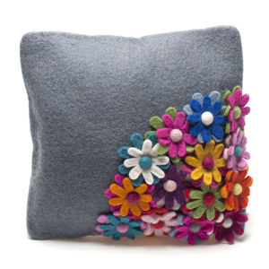 Handmade Felt Grey Flower Cushion